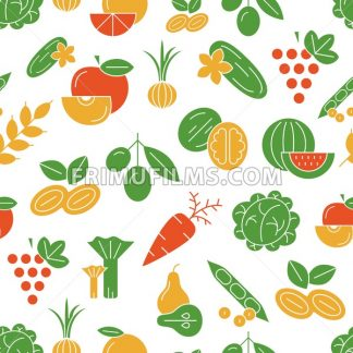 Digital vector green and red vegetable icons set infographics pattern with drawn simple line art, onion squash pear orange apple grape carrot wallnut peas watermelon flower cabage, flat style - frimufilms.com