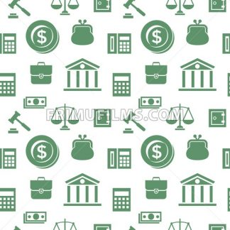 Digital vector green business icons with drawn simple line art info graphic, presentation with economy elements around promo template, seamless pattern, flat style - frimufilms.com