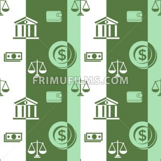 Digital vector green business icons with drawn simple line art info graphic seamless pattern, card calculator coin wallet bank safe balance money, flat style - frimufilms.com