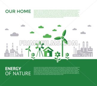 Digital vector green city ecology icons with drawn simple line art info graphic, presentation with recycle, windmills and alternative energy elements around promo template, flat style - frimufilms.com