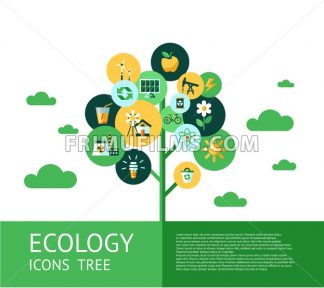 Digital vector green ecology icons tree with drawn simple line art info graphic, presentation with recycle, flowers and alternative energy elements around promo poster template, flat style - frimufilms.com
