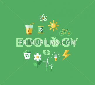 Digital vector green ecology icons with drawn simple line art info graphic, presentation with recycle, flowers and alternative energy elements around promo poster template, flat style - frimufilms.com