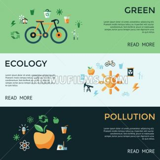 Digital vector green ecology icons with drawn simple line art info graphic, presentation with recycle, pollution and alternative energy elements around promo template, flat style - frimufilms.com