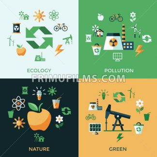 Digital vector green ecology icons with drawn simple line art info graphic, presentation with recycle, production and alternative energy elements around promo template, flat style - frimufilms.com