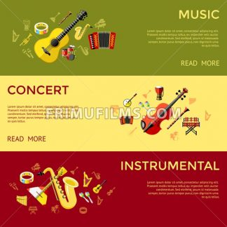 Digital vector green music instruments icons with drawn simple line art info graphic, presentation with guitar, piano, drums and sound elements around promo template, flat style - frimufilms.com