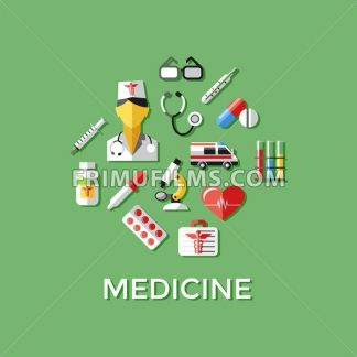 Digital vector green red nurse pharmacy medical icons set with drawn simple line art info graphic, ambulance tooth pills tubes medicine dropper first aid thermometer hospital, flat style - frimufilms.com