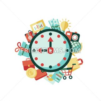 Digital vector green red work space icons set with drawn simple line art info graphic, presentation with clock, money and commerce elements around promo template, flat style - frimufilms.com