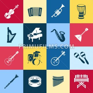 Digital vector green red yellow music instruments icons with drawn simple line art info graphic, presentation with guitar, piano, drums and sound elements around promo template, flat style - frimufilms.com