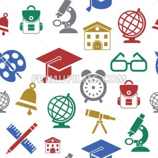Digital vector green red yellow school icons with drawn simple line art seamless pattern, children map globe hat bell clock pen ruler book apple girl boy pupil brush bus bag, flat style - frimufilms.com