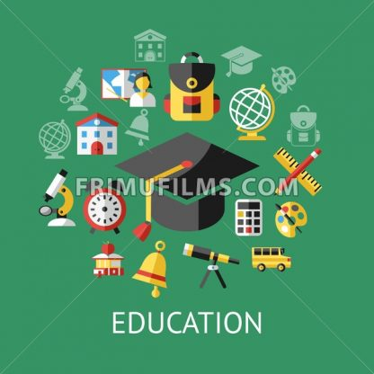 Digital vector green school icons with drawn simple line art, children map globe hat bell clock pen ruler book apple girl boy pupil brush calculator bus lessons bag holidays education, flat style - frimufilms.com