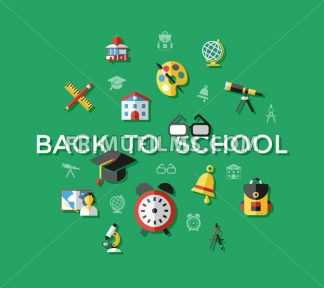 Digital vector green school icons with drawn simple line art, children map globe hat bell clock pen ruler book apple girl boy pupil brush calculator bus lessons bag holidays, flat style - frimufilms.com