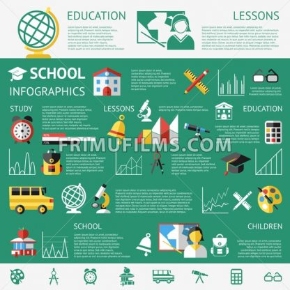 Digital vector green school icons with drawn simple line art info graphic, children map globe hat bell clock pen ruler book girl boy pupil brush calculator bus lessons bag holidays lessons, flat style - frimufilms.com