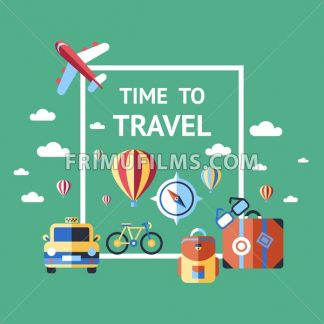Digital vector green summer time travel icons set with drawn simple line art info graphic poster promo, ship boat camera balloon compass air plane map globe taxi card hotel, flat style - frimufilms.com