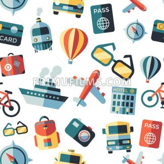 Digital vector green summer time travel icons set with drawn simple line art info graphic seamless pattern, ship boat camera balloon compass air plane map globe taxi card hotel, flat style - frimufilms.com