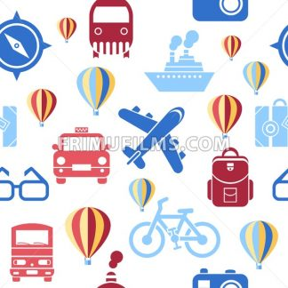 Digital vector green summer time travel transport icons set with drawn simple line art info graphic seamless pattern, ship boat camera balloon compass air plane map globe taxi card hotel, flat style - frimufilms.com
