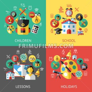 Digital vector green yellow black school icons with drawn simple line art, children map globe hat bell clock pen ruler book apple girl boy pupil brush calculator bus lessons bag, flat style - frimufilms.com