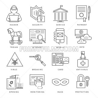 Digital vector internet security data protection icons set drawn simple line art info graphic poster, hacker user bug vulnerability mobile email trojan malware bank cloud spy intercept mask, flat - frimufilms.com