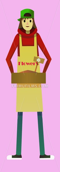 Digital vector kid cartoon simple character delivering flowers worker fast courier, abstract flat style - frimufilms.com
