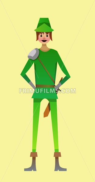 Digital vector kid cartoon simple character young man in green robinhood costume with sword and moustache, abstract flat style - frimufilms.com