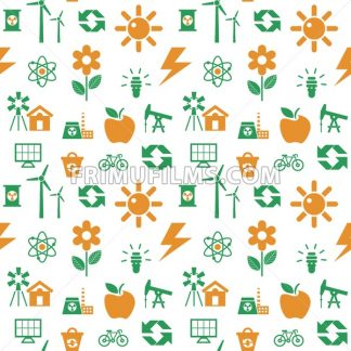 Digital vector orange green ecology icons with drawn simple line art info graphic, seamless pattern, presentation with recycle, production and alternative energy elements around template, flat style - frimufilms.com