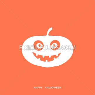 Digital vector orange happy halloween icon with drawn simple line art info graphic, presentation with big pumpkin scary spooky face promo template, flat style - frimufilms.com