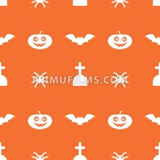 Digital vector orange happy halloween icons with drawn simple line art info graphic, seamless pattern, presentation with bats, cat and pumpkin elements around promo template, flat style - frimufilms.com