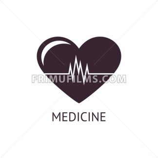 Digital vector pharmacy medical big black heart icon with drawn simple line art, flat style - frimufilms.com