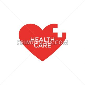 Digital vector pharmacy medical big red heart icon with drawn simple line art, flat style - frimufilms.com