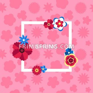 Digital vector pink flowers set icons with drawn simple line art info graphic, presentation with petals, spring branch and floral elements around promo template, flat style - frimufilms.com