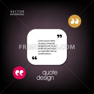 Digital vector quote frames box blank template with print information design icon, empty citation, flat style - frimufilms.com