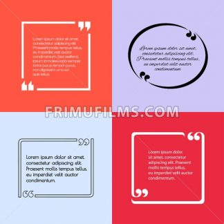Digital vector quote frames box set blank template with print information design icon, empty citation, flat style - frimufilms.com