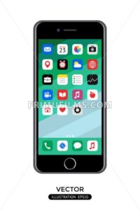 Digital vector realistic mobile phone screen with apps icon, desktop wallpaper - frimufilms.com