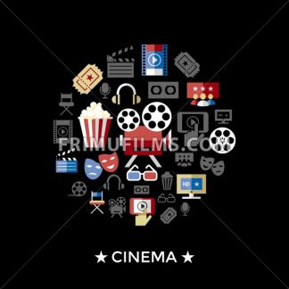 Digital vector red black cinema icons with drawn simple line art info graphic, presentation with screen, movie and old camera elements around promo template, flat style - frimufilms.com