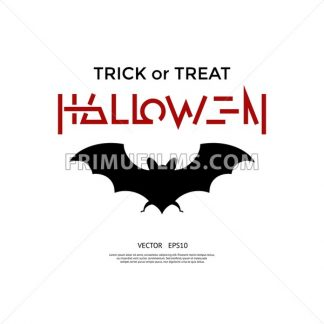 Digital vector red black happy halloween icons with drawn simple line art info graphic, presentation with bat promo template, trick or treat, flat style - frimufilms.com