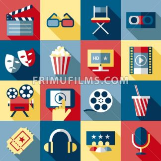Digital vector red blue 16 cinema icons with drawn simple line art info graphic, presentation with screen, movie and film elements around promo template, flat style - frimufilms.com