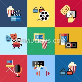 Digital vector red blue 9 cinema icons with drawn simple line art info graphic, presentation with screen, movie and film elements around promo template, flat style - frimufilms.com