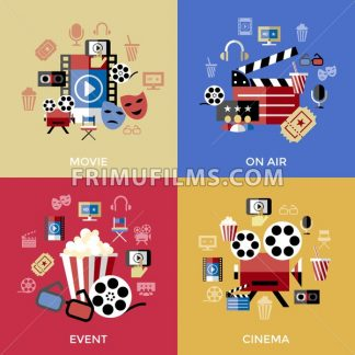 Digital vector red blue cinema icons with drawn simple line art info graphic, presentation with screen, movie and film elements around promo template, flat style - frimufilms.com