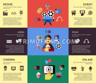 Digital vector red blue cinema icons with drawn simple line art info graphic, presentation with screen, movie and spectator elements around promo template, flat style - frimufilms.com