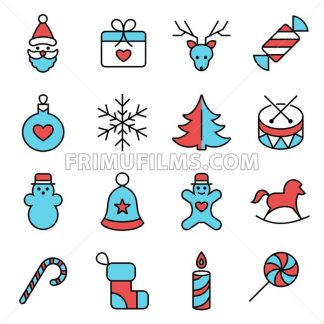 Digital vector red blue happy new year icons with drawn simple line art info graphic, presentation with toys and gifts elements around promo template, flat style - frimufilms.com