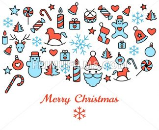 Digital vector red blue happy new year merry christmas icons with drawn simple line art info graphic, presentation with toys and gifts elements around promo template, flat style - frimufilms.com