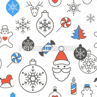 Digital vector red blue happy new year merry christmas icons with drawn simple line art info graphic, seamless pattern, presentation with toys and gifts elements around promo template, flat style - frimufilms.com