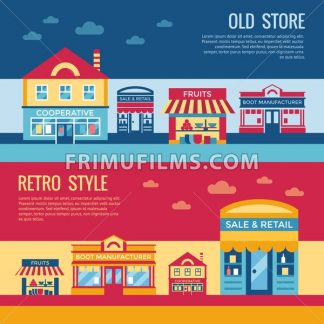 Digital vector red blue retro supermarket icons with drawn simple line art info graphic, presentation with commerce, shopping building elements around promo template, flat style - frimufilms.com