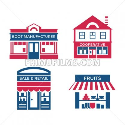 Digital vector red blue supermarket icons with drawn simple line art info graphic, presentation with commerce, shopping building elements around promo template, flat style - frimufilms.com