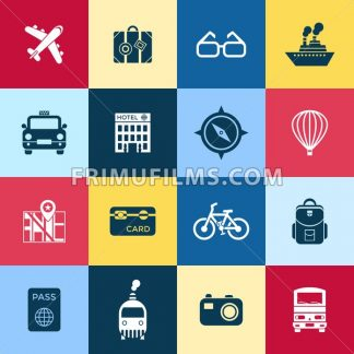Digital vector red blue travel icons set with drawn simple line art info graphic poster promo, ship boat camera balloon luggage compass air plane map globe taxi card hotel bicycle free, flat style - frimufilms.com