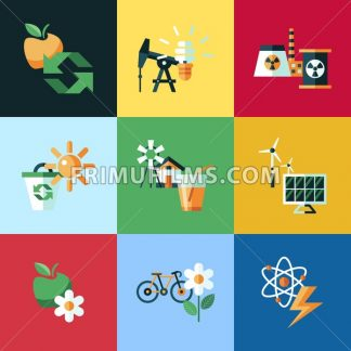 Digital vector red ecology icons with drawn simple line art info graphic, presentation with recycle, production and alternative energy elements around promo template, flat style - frimufilms.com