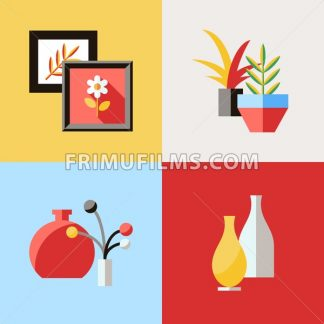 Digital vector red furniture icons with drawn simple line art info graphic, presentation with vase, flower, picture, frame and interior elements around promo template, flat style - frimufilms.com