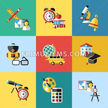 Digital vector red green blue school icons infographics with drawn simple line art, telescope map globe hat bell clock pen ruler book apple girl boy pupil brush calculator bus building bag, flat style - frimufilms.com