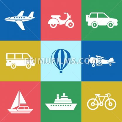 Digital vector red green blue travel transport icons set with drawn simple line art info graphic, presentation with car, plane and vehicle elements around promo template, flat style - frimufilms.com