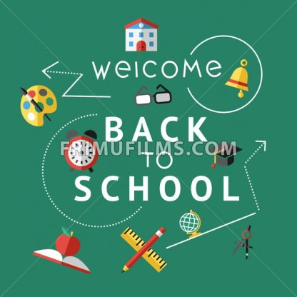 Digital vector red green icons infographics with drawn simple line art, telescope map globe hat bell clock pen ruler book apple glasses, welcome back to school, flat style - frimufilms.com
