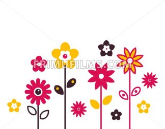 Digital vector red growing flowers set icons with drawn simple line art info graphic, presentation with petals, branch and floral elements around promo template, flat style - frimufilms.com